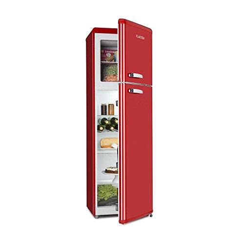 Klarstein Audrey Retro - Frigorifero, Freezer, Combinazione Frigo-Congelatore, Frigorifero 194 L, Congelatore 56 L, Freezer 4 Stelle, Classe A++, Zona Crisper 0°C, Portabottiglie, Rosso