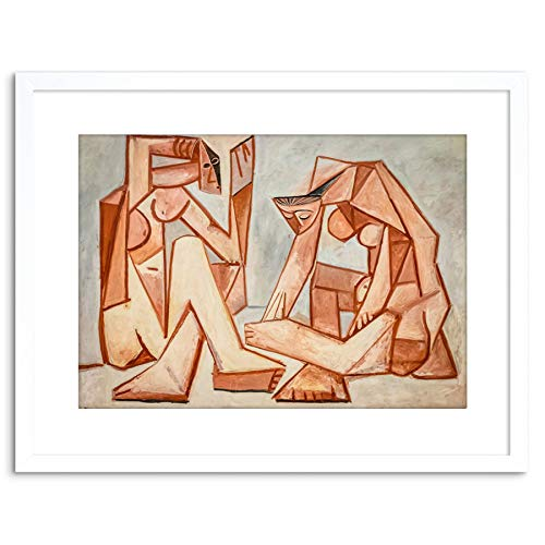 Painting Cubism Impression Picasso Two Women on The Beach Framed Art F97X12034