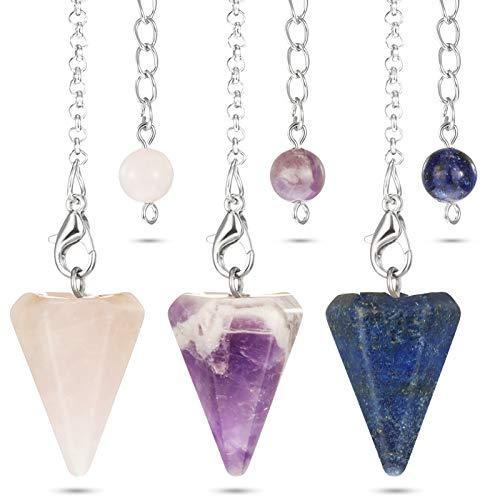 3 Piezas Colgantes Hexagonales de Cristal Natural Colgante de Piedra Preciosa Puntiaguda Encantos de Chakra de Reiki de Péndulo Colgantes de Piedra Natural para Hombres Mujeres