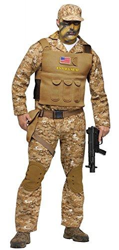 shoperama Kostüm Navy Seal für Herren und Teenager Camouflage Army Militär Spezialeinheit, Größe:158 - 12 bis 14 Jahre