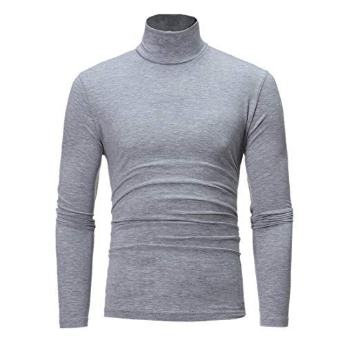 DOLAA Men's Fine Merino Wool Roll Neck Jumper Mens Jumpers Turtleneck Slim Fit Twisted Knitted Pullover Jumpers Mens Knitted Thick Sweater Full Stand Collar Warm Jumper Fleece Men's Cotton Jumper