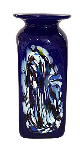 Oberstdorfer Glashütte Vase blau Glasvase eckig Kobaltblau mit Dekor für längere Blumen Blumenvase verziert mundgeblasen Höhe ca. 15 cm