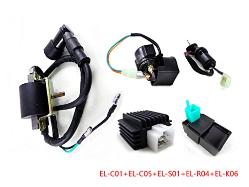 Electric System Components for 50cc 70cc 90cc 110cc 125cc ATV Quad Dirt Bike Go Kart Scooter CDI Box Ignition Coil Voltage Regulator Rectifier Starter Relay Solenoid Key Ignition Switch Combo