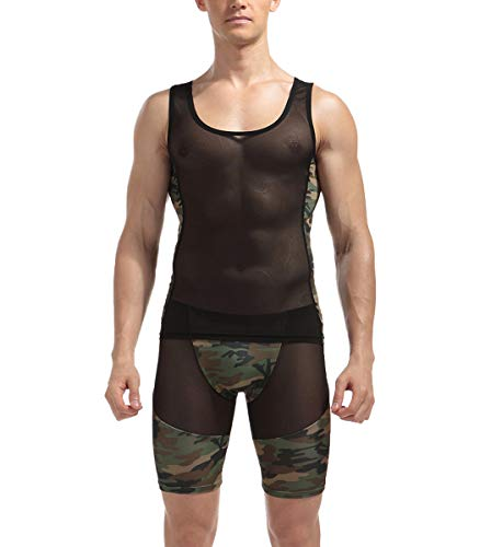 Herren Shirt Tank Top Boxershorts Camouflage 2-teilige Set Sheer Transparent Camo Sport Tights Männer Unterwäsche Hose Shorts Weste Sleeveless Ärmelloses Unterhemd Kurz Leggings (S/M)
