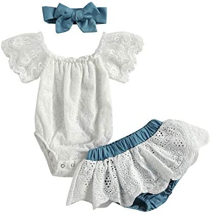 Newborn Infant Baby Girls Clothes Summer Off Shoulder Sleeve Lace Romper Tops Ruffles Tulle product image