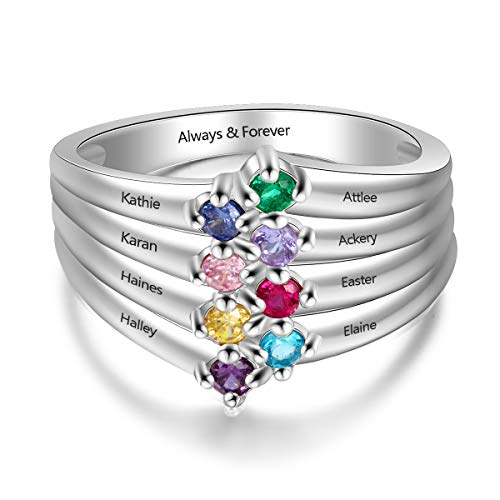 Personalized Mothers Ring with 8 Round Simulated Birthstones Family Promise Rings for Women Custom Grandma Jewelry (9)