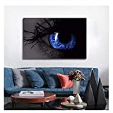Cuadros abstractos de grandes ojos azules pintura en lienzo decoración del hogar pintura decorativa arte de pared para sala de estar-60X90Cm