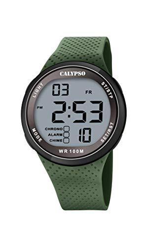 CALYPSO Reloj Modelo K5785/5 de la colección Color Splash, Caja de 44 mm Negro con Correa de Caucho Verde para Caballero