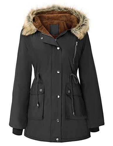 GRACE KARIN Women's Thickened Parka Coat Anoraks Outwear Winter Long Jackets Black XL