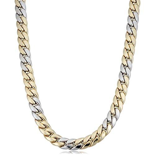 14K giallo e oro bianco Miami maglie collana da uomo, 55,9cm