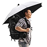 "G4Free Liteflex Hiking Umbrella Ultralight Large 46"" Reflective Silver Trekking Backpacking Umbrella, Bonus Handsfree Umbrella Kit (Silver/Black)"