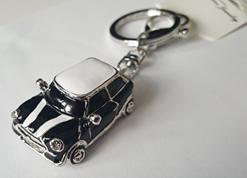 Auto-Schlüsselanhänger, Motiv Mini, blau/rote Strasssteine, goldfarbener Rand, Geschenkidee, Schwarz (1)