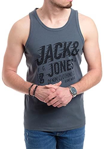 Jack and Jones Tank Top Herren Fitness Shirt Männer Muskelshirt Training Achselshirt Sport (M, Walther 921 Dark Slate)