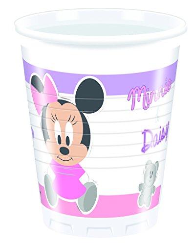Ciao Procos 85567 – Gobelets Plastique Baby Minnie & Daisy 200 ML, 8 pièces, Rose/Blanc