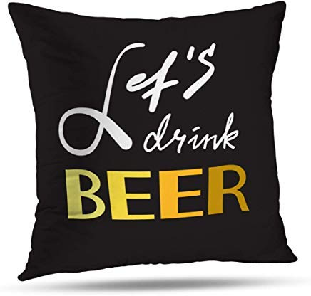 GFGKKGJFD424 - Fundas de cojín con Frase de Cerveza Simple y motivadora, 45 cm x 45 cm, para salón, sofá, Manta, Funda de Almohada con Cremallera, Regalo de Almohada