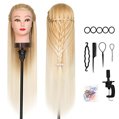 DANSEE 28' Mannequin Head Synthetic Hair Hairdresser Training Manikin Cosmetology Doll Head Blonde with DIY Braiding Set+ Free Table Clamp(Golden)