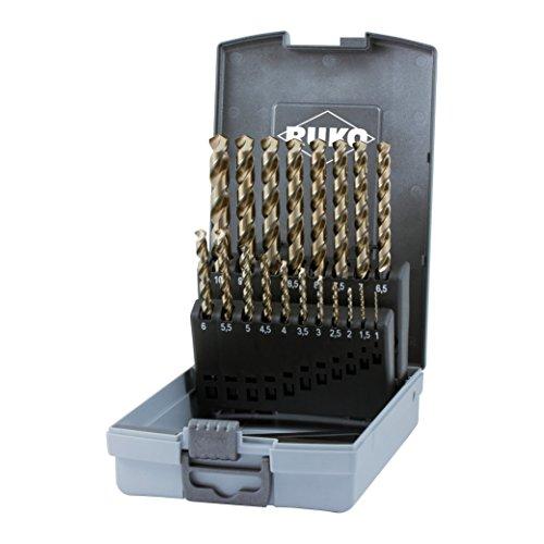 Ruko Spiralbohrer-Satz DIN 338 Typ Uni steigend in ABS-Kunststoffkassette, 1-10 x 0,5 mm, 228214RO