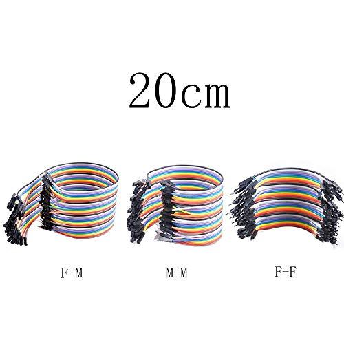 KingBra Dupont Conector 20 cm + 30 cm x 40 piezas M-F, 40 piezas M-M, 40 piezas F-F-F-FJumper cables de cinta Kit para Arduino
