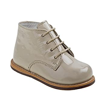 Josmo Kids First Walking Shoes Ankle Boot Beige Patent Ostrich 7 US Unisex Toddler