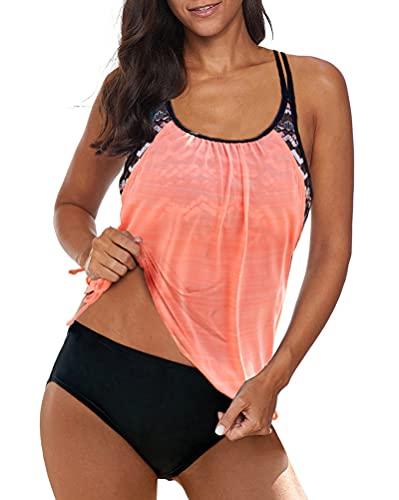 Minetom Tankini Damen Bauchweg Bademode Set Zweiteilig Push up mit Einstellbarer Badeanzug Bikini Set Strand Schwimmanzug Rosa M