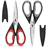 Kitchen Shears, iBayam 2-Pack Kitchen Scissors Heavy Duty Meat Scissors, Dishwasher Safe Cooking Scissors, Multipurpose Stainless Steel Sharp Utility Food Scissors for Chicken, Poultry, Fish, Herbs