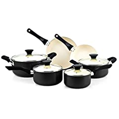 Includes: 1 and 2 qt saucepans, 3 qt casserole, 5 qt dutch oven with lids, and 8 and 9. 5 in. fry pans Made of thick gauge aluminum that provides even heat conduction and prevents hot spots Nonstick ceramic coating makes food release/cleaning easy an...