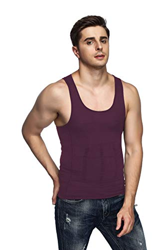 Odoland Men's Body Shaper Slimming Shirt Tummy Vest Thermal Compression Base Layer Slim Muscle Tank Top Shapewear, Purple, M