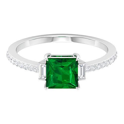 Anillo de compromiso esmeralda de 1,2 quilates con corte princesa creado en laboratorio, anillo de tres piedras de moissanita, GH-VS1 claridad de color, 14K Oro blanco, Size:EU 46