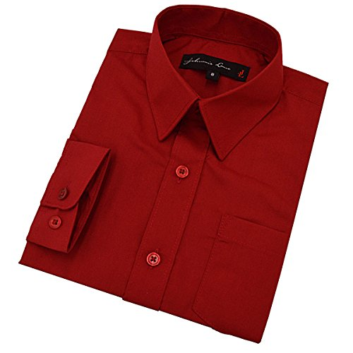 Baby Boy's Long Sleeves Solid Dress Shirt #JL32 (12 Months, Red)