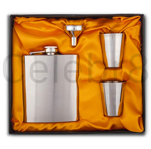 Celebr8 Easy Sip Stainless Steel Hip Flasks, Liquor or Wine Whiskey Alcohol Drinks Holder Pocket Bottle with Funnel and Two Shots Glasses Gift Set for Men - 7 Oz (210 ml)