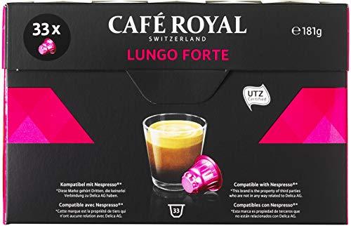 Café Royal Lungo Forte 132 cápsulas compatibles con Nespresso* Intensidad: 8 de 10 (Pack de 4 x 33 cápsulas)