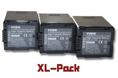 vhbw 3 x Li-Ion batería 3000mAh (7.2V) para videocámara cámara de Video Hitachi sustituye DZ-BP07s, DZ-BP14s, DZ-BP21s.
