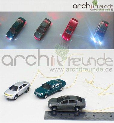 3 Stück Modellauto beleuchtet LED zu Spur H0
