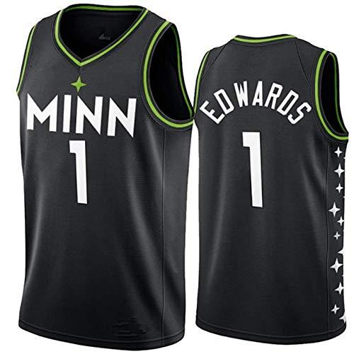 TGSCX Jersey de Baloncesto para Hombre NBA Minnesota Timberwolves 1# Anthony Edwards Camisetas Transpirable Deportes y Ropa de Ocio Regalos para los fanáticos,M