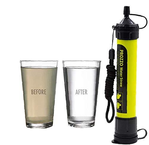Filtro de Agua Personal Sistema de Filtración de Agua Mini Purificador de Agua Portátil para Excursionismo Campamento Acampada Supervivencia y Preparación de Emergencias (Amarillo)