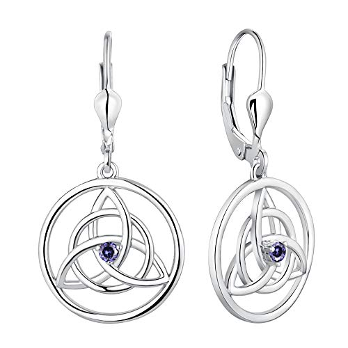 YL Celtic Knot Earrings 925 Sterling Silver Created Tanzanite Trinity Leverback Earrings Love Knot Dangle Drop Jewelry