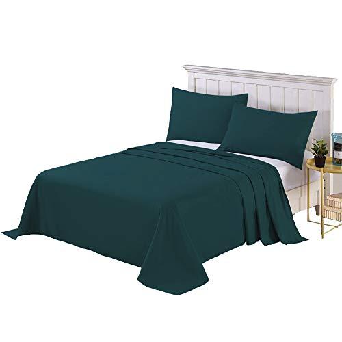 フラットシーツ セミダブル ベッドシーツ 敷きシーツ 厚手生地 ホテル品質 柔らか 抗菌 速乾 耐久性良い 170×250cm アッパーシーツ マットレスカバー ダークグリーン