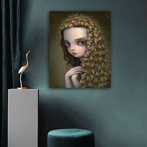 Schal dein Haar Mädchen kindisch seltsame dunkle Welt Königin Biene Kunst Leinwand Poster Malerei Wanddruck Home Schlafzimmer rahmenlose dekorative Leinwand Malerei A115 60x90cm