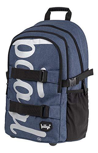 Baagl Schulrucksack für Jungen Teenager - Skateboard Rucksack - Kinderrucksack mit Laptopfach und Brustgurt für Schule (Blue)