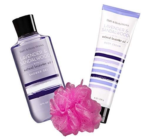 Lavender and Sandalwood Bath and Body Works Moisturizing Wash Shower Gel and Lotion with Shea Butter Cream.