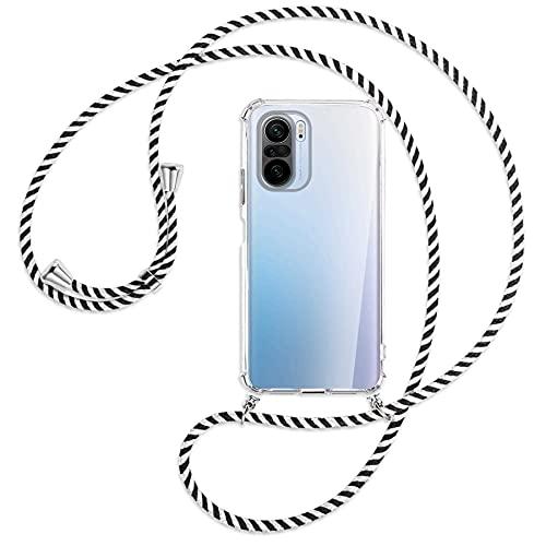 mtb more energy Collana Smartphone per Xiaomi Mi 11i, Poco F3 (PRO), Redmi K40 (PRO, PRO+) - Nero & Bianco - Custodia indossabile per Collo - Cover a Tracolla con cordina