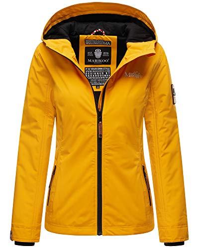 Marikoo Damen Übergangsjacke Outdoor Windbreaker Regenjacke Fleece Jacke Gefüttert Kapuze XS - XXL BROMBEERE (Gelb, M)