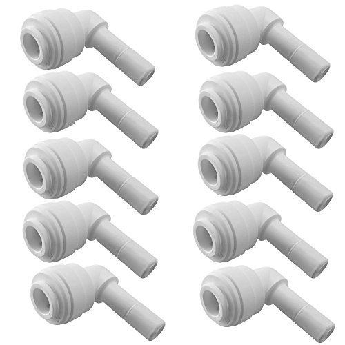 PureSec 2019 SE14TU14STEM Mini white plastic quick fitting 90 degree elbow Stem plug in push connector for tubing OD 1/4' used for RO system refrigerator ice maker coffee machine(Pack of 10)