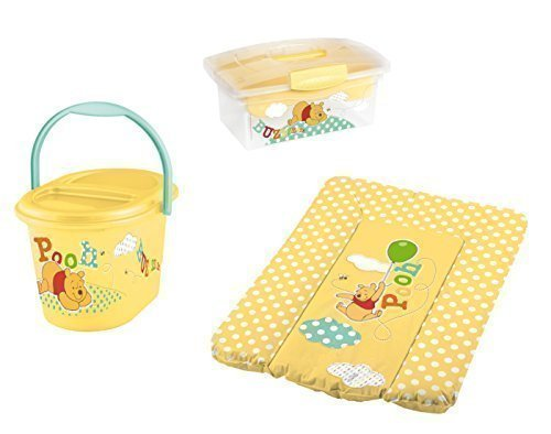 Disney Wickelauflage 70 x 50 + Windeleimer + Traveller Box gelb Winnie Pooh Mülleimer Wickelunterlage