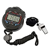 AKOAK Sports and Referee Digital Stopwatch Timer/W Bonus Stainless Steel Coach Whistle with Lanyard