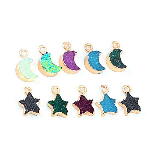 10 Pieces Moon Star Charms Alloy Charms Assorted Enamel Mixed Charms Mixed Pendants Charms for Crafting and Jewelry Making (Random Color)