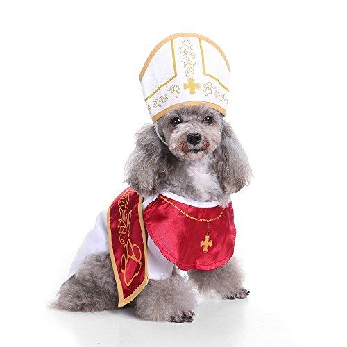 Gaxyd Hund Katze Halloween Kostüm, Haustier Cosplay Pate Anzug mit Hut Holy Hound Kleid Weihnachtsfeier Kostüme Kleidung, S