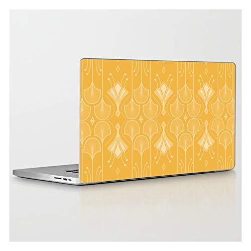 Laptop & Tablet Skin - 15' MacBook Pro Retina - Lily Lake - Retro Floral Pattern Curry by Anutu STU