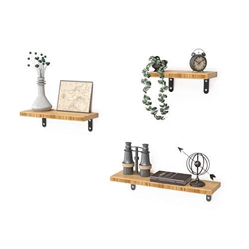 ZHU CHUANG Estantes flotantes montados en la pared, juego de 3, estantes de pared de bambú para dormitorio, sala de estar, baño, cocina, oficina y más (natural)