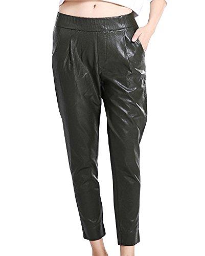 DianShao Mujer Casual PU Cuero Suelto Pantalones con Bolsillo Cintura Elástica De Cuero Imitación